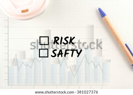 word risk or safty graph bar on paper pen and coffee background