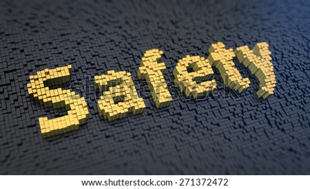 Word 'Safety' of the yellow square pixels on a black matrix background - stock photo