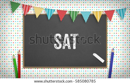 word sat text chalk on blackboard stock illustration 585080785