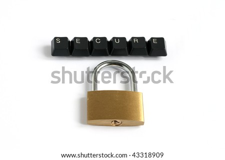word secure written with keyboard keys with locked padlock isolated on white background - stock photo