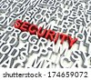 Word Security in red, salient among other related keywords in white. 3d render illustration. - stock