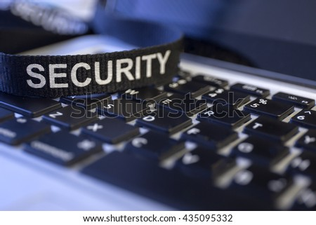 word security on labtop keyboard symbolized fraud and cyber crime protection - stock photo