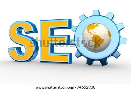 Word 'SEO' with earth globe and gear mechanism. Search engine optimization symbol. 3d render - stock photo