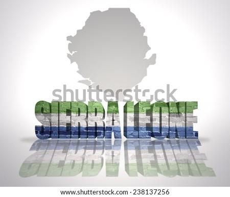 Word Sierra Leone with National Flag near map of Sierra Leone - stock photo