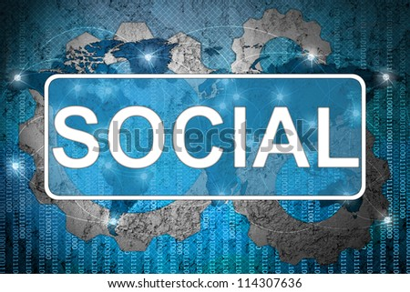 Word Socail on network background - stock photo