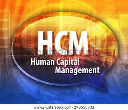 word speech bubble illustration of business acronym term HCM Human Capital Management - stock photo