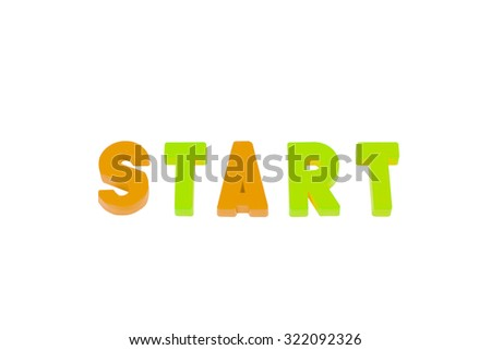 word start on a white background - stock photo