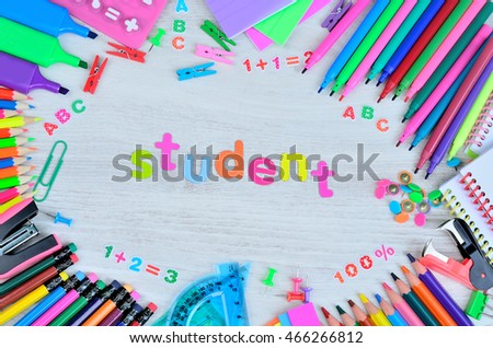 word student colors letter and object for school on gray wooden table