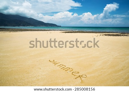 word summer is written on the send, beach view - stock photo