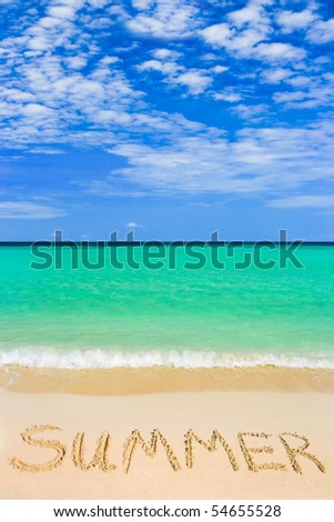 Word Summer on beach - vacation concept background