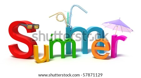 Word summer with colourful letters . 3D concept isolated on white