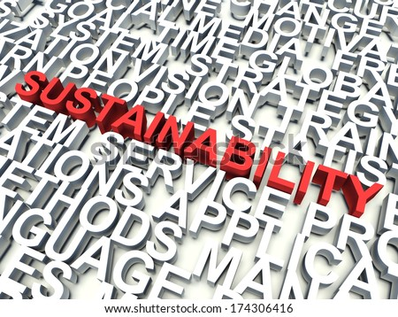 Word Sustainability in red, salient among other related keywords concept in white. 3d render illustration. - stock photo