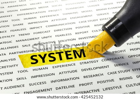 Word System highlighted with marker on paper of other related words.business success concept. - stock photo