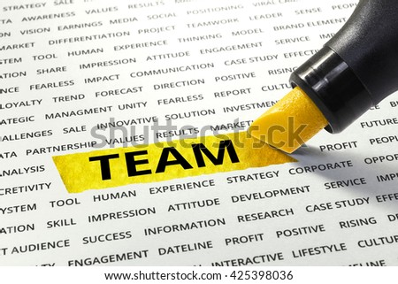 Word TEAM highlighted with marker on paper of other related words.business success concept.