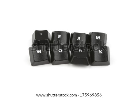 Word teamwork formed with computer keyboard keys on white background with shadow