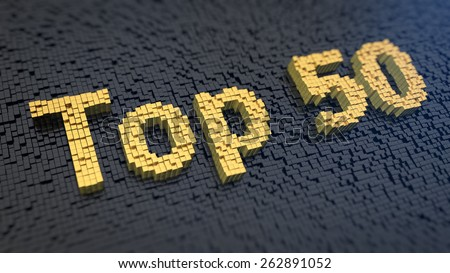 Word 'Top 50' of the yellow square pixels on a black matrix background - stock photo