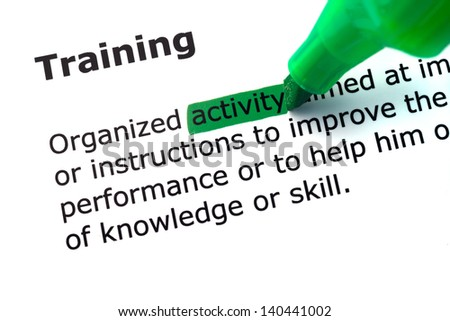word training highlighted in green on white background - stock photo