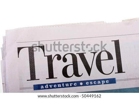Word Travel as heading heading in the newspaper. - stock photo