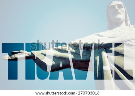 Word TRAVEL over Rio de Janeiro. - stock photo