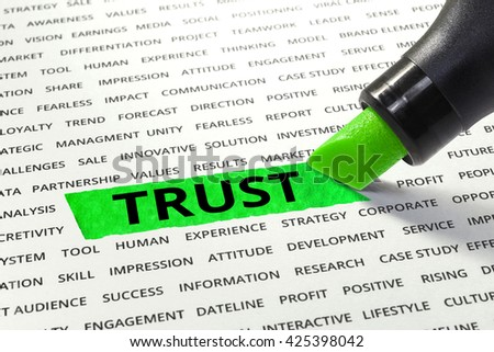 Word Trust highlighted with marker on paper of other related words.business success concept. - stock photo