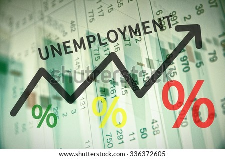 word unemployment on trend arrow financial stock