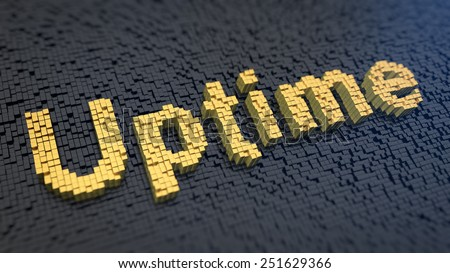 Word 'Uptime' of the yellow square pixels on a black matrix background - stock photo