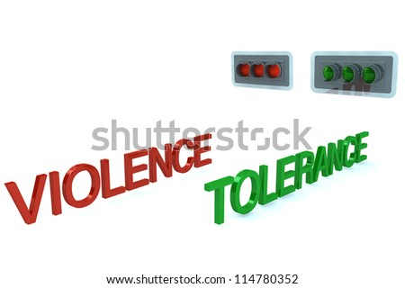 Word Violence stop before red signal and word Tolerance GO on grenn light of traffic light white background - stock photo