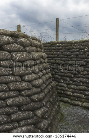 Word War I Trench in Flanders, near Diksmuide, called Dodengang in Dutch and Boyau de la Mort in French.  - stock photo