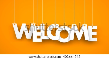 Word WELCOME hanging on the ropes. 3d illustration - stock photo