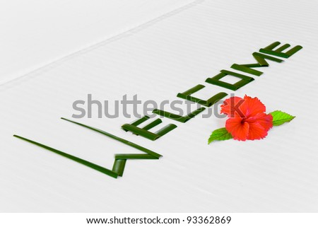 Word Welcome made of palm leafs and flower on bed - stock photo