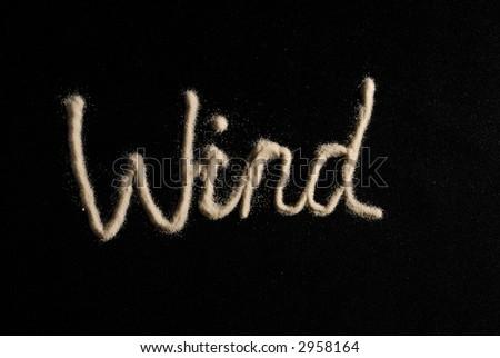 Word wind on black background - stock photo