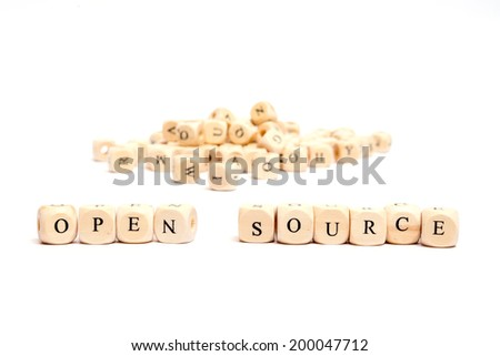 word with dice on white background - open source - stock photo