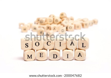 word with dice on white background - social media - stock photo