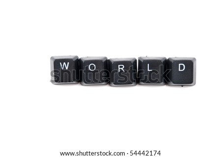 Word world composed with letters of black computer keyboard isolated on white background
