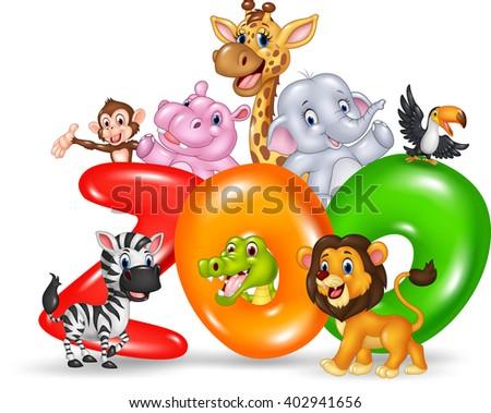 Word zoo with cartoon wild animal africa - stock photo