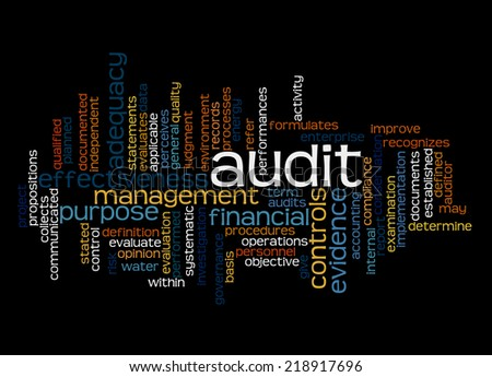 Wordcloud of Audit and its associates - stock photo