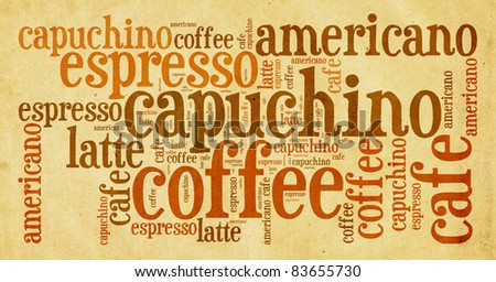 Wordcloud of coffee - stock photo