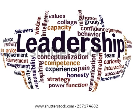 Wordcloud of Leadership and its related words with spherize effect