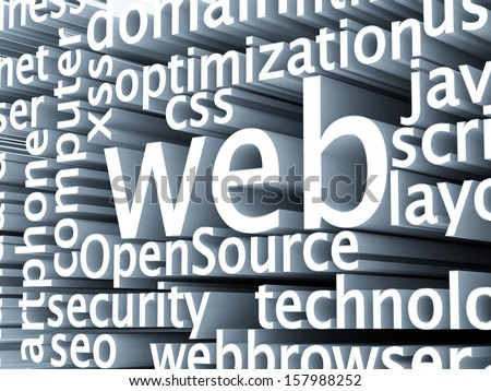 Wordcloud SEO Domain homepage 3D - stock photo