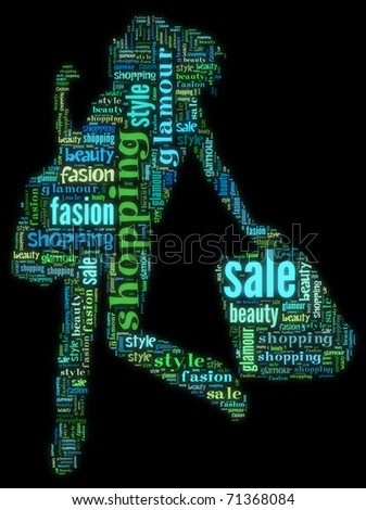 Wordcloud: silhouette of happy woman with purchases - stock photo