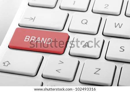 Wording Brand on computer keyboard