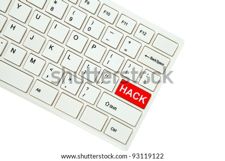 Wording Hack on computer keyboard isolated on white background - stock photo
