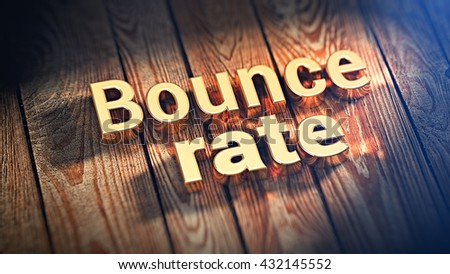 """Words """"Bounce rate"""" is lined with gold letters on wooden planks. 3D illustration image - stock photo"""