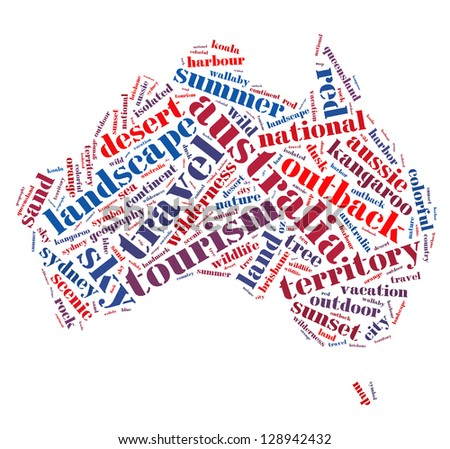 Words cloud illustration of Australia with white background.