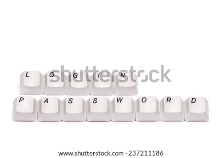 words from letters collected with computer keyboard buttons keys login password isolated - stock photo