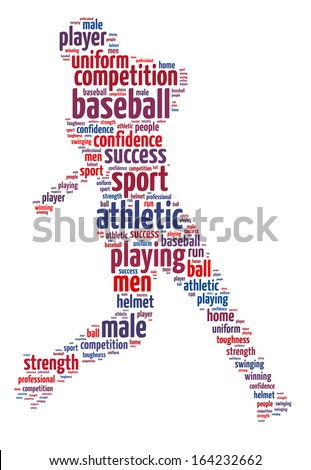 Words illustration of a baseball player over white background - stock photo