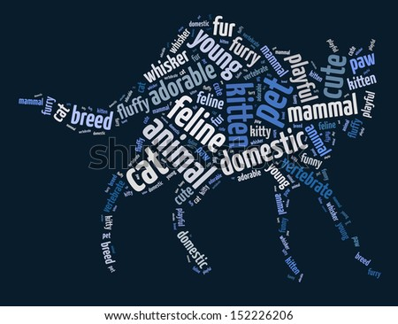 Words illustration of a cat over deep blue background