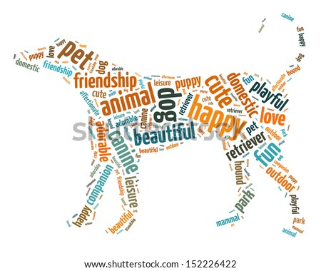 Words illustration of a dog over white background