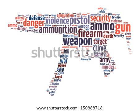 Words illustration of a machine gun over white background
