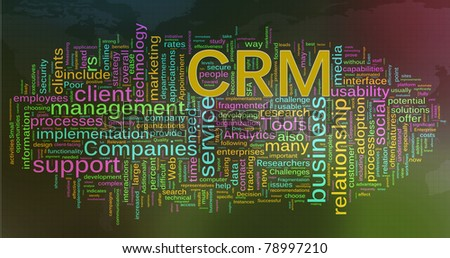 Words in a wordcloud of CRM - Customer relationship management - stock photo